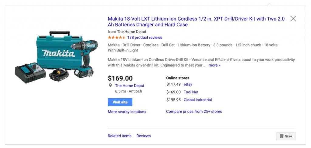 Makita Tools Google Shopping