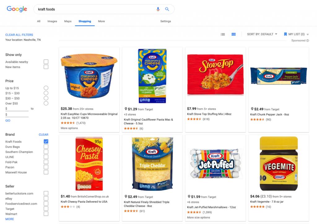 Kraft Foods Google Shopping